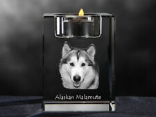Alaskan Malamute, crystal candlestick with dog, souvenir, Crystal Animals Ca