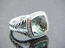 DAVID YURMAN 11 MM ALBION RING PRASIOLITE  DIAMONDS STERLING SILVER SZ 7