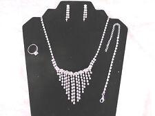 Silver Plated Rhinestone Bridal Dangling Necklace, Earrings, Bracelet, Ring Set
