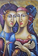 RUSSIAN MODERN PAINTER OLEG ZHIVETIN LADIES OIL & MIXED MEDIA ON CANVAS SIGNED