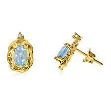 14k Yellow Gold Aquamarine Scroll Diamond Earrings