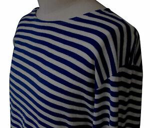 Soviet Telnyashka TShirt Striped Navy Blue White Long Sleeve Woven Autumn Weight