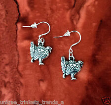 BUY 3 GET 1 FREE~SILVER TURKEY DANGLE FOOD GOBBLE GOBBLE THANKSGIVING EARRINGS