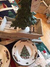 "Set of 4 Johnson Bros Victorian Christmas Tree Salad Plates 8"" England New"
