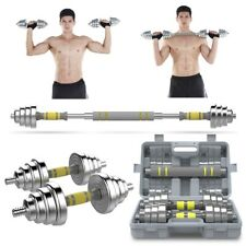 New 1 Pair Pure Steel Adjustable Total 20kg/44lbs Gym Strength Weight Dumbbells