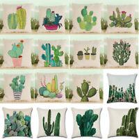 Tropical Plants Cactus Pillow Case Cotton Linen Throw Cushion Cover Home Decor