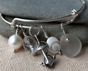 Sterling Silver Anchor Adjustable Charm Bracelet with White Genuine Sea Glass