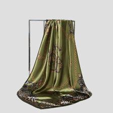 """Womens Leopard Chain Print Hijab Scarves Silk Satin Square Head Scarf 35""""x35"""" US"""