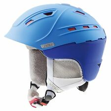 NEW UVEX P2US WL WOMEN'S SKI SNOWBOARD HELMET BLUE-RED MATTE 51-55 and 55-59 cm