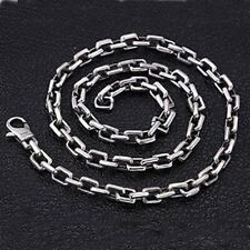 """Real 925 Sterling Silver Necklace Square Ring Buckle Box  Chain 20"""" - 30"""""""
