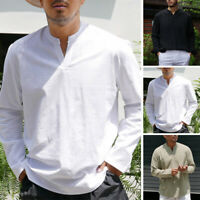 Men's Long Sleeve Cotton Linen Tops Casual Blouse Shirt V-neck Kaftan Loose Top
