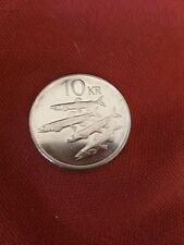1998 10kr coin  silver with 4 sharks on the back