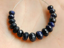 Natural Blue Sapphire Faceted Rondelle Precious Gemstone Beads