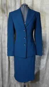 Kasper Teal LS Skirt Suit sz 6 LKNU