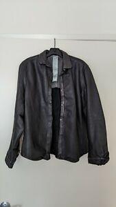 NWOT Carpe Diem Leather Jacket Size 6 S Overshirt Black Avant Garde Italy Guidi
