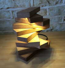WOODEN HANDMADE  LIGHT TABLE LAMP DESK LAMP UNIQUE CONTEMPORARY