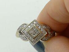 14K White Gold Diamond Ring Princess Cut 0.50 ct Ladies Womans Gift 14KT New