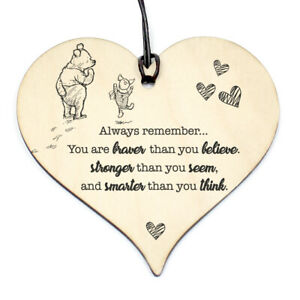 #812 WINNIE THE POO QUOTE Birthday Xmas Love Plaque Sign Friendship Wood Heart