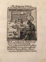CASPAR LUYKEN - ANTIKER KUPFER-STICH 1698 - VERSE ABRAHAM a SANTA CLARA