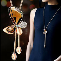 Crystal Butterfly Tassel Pendant Long Necklace Sweater Chain Fashion Jewelry New