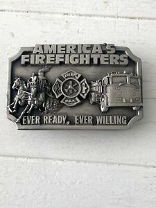 Vintage America's Firefighters Ever Ready Ever Willing 1983 Siskiyou Belt Buckle