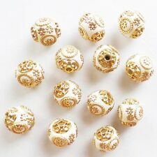 10pcs Beautiful White Rare Earth & Plated-Gold Spacer Beads GSAM1376