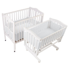 Breathable Baby Mesh Crib Liner for Portable Cradle Cribs 20211 White Free Ship
