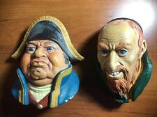 Vintage Bossons England Chalkware Heads Mr. Bumble & Fagin - Dickens