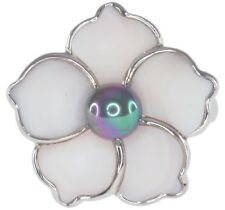 Pearl and Mother Of Pearl Flower Design Sterling Silver Ring size O
