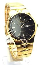 New Citizen  Gold-tone, Black-dial, Day-Date Window, Man Dress Watch