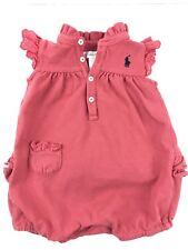 Ralph Lauren Baby Girl Bubble Romper Punch Pink Ruffle Collar Butt 6 Months