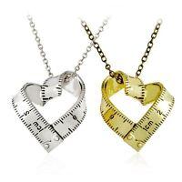 Fashion Heart Measure Ruler Gold Silver Chain Pendant Necklace Women Men Jewelry