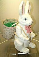 "Vintage 1950s - 1960s Era Paper Mache Easter Bunny Rabbit W/ Egg Basket 20"" Tall"