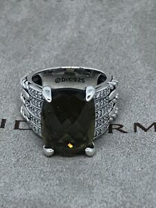 DAVID YURMAN 925 Silver 16x11mm Tides w/ Smoky Topaz  & Diamond Ring Sz6.75