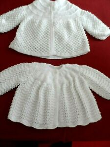 TWO LOVELY HAND KNITTED BABY MATINEE COATS  ( A 2).