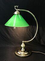 Vtg Brass Art Deco Table Desk Lamp Industrial Green Glass Shade Gooseneck Banker