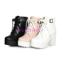 Casual Women's Ankle Boots Lace Up Knight Shoes Platform Pu Leather Chunky Heels