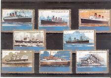 Lotto n. 8 francobolli - STATO AJMAN - Emirati arabi con illustrazioni di navi