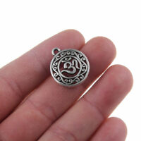 10x Round 3D Buddha Charm Pendants Tibetan Silver Beads 18mm DIY Jewelry Making