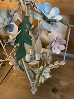 Vintage Mid Century ~ Floral Pink Yellow & Blue Flower Tole ~Metal Chandelier