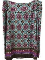 CATO stretch skirt size XL blue brown jersey knit Aztec pattern