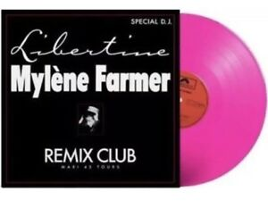 MYLENE FARMER LIBERTINE VINYLE 45T COULEUR ROSE FLUO 1000 EXEMPLAIRES
