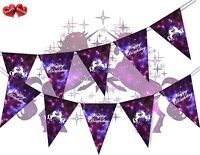 Unicorn Happy Birthday Galaxy Space Stars and Planets Bunting Banner 15 Flags