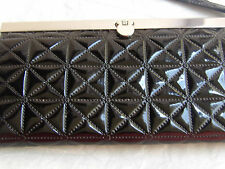 Women's  Black Patent Leather Faux Quilted Snap Lock wristlet Wallet EUC