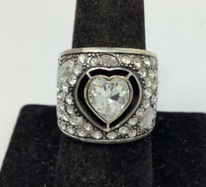 Brighton Silver Toned Large Clear Stone Heart Ring Size 9 (12.72g)