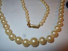 HOBE Vintage Cream Majorca Graduating Pearl Necklace Choker knotted on silk mint