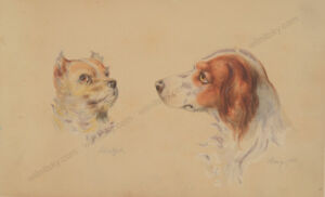 """Otto Arnz """"Hunting dogs 'Schnitzel' and 'Bowy'"""", watercolor, 1851"""