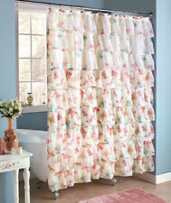 Tranquil TIER RUFFLE BUTTERFLY SHOWER CURTAIN Fabric ~ Compliments Shabby Bath