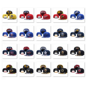 New Embroidered NHL Team Baseball Cap Flat Brim Hat Sports  Hockey Unisex Men