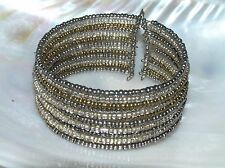 Used Wide Silver & Goldtone Tiny Glass & Plastic Bead Wrap Bracelet – will fit